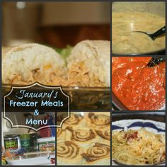 Freezer Meals for a whole month with menu and recipes!  Great way to plan ahead and save time and money in the kitchen!  Includes breakfast, lunch, and dinner.