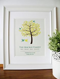 I really love family trees: maybe do a small one for the nursery (just your little family) and a large one (with extended family) for the family room?