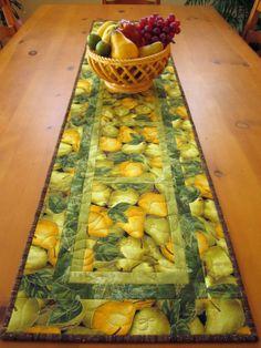 fruit, quilt tabl, tabl runner, mesa, runner pear, quilted table runners, handmad quilt, design, crafts