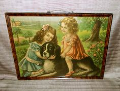 Two Girls with Newfoundland Dog - Rover and His Friends