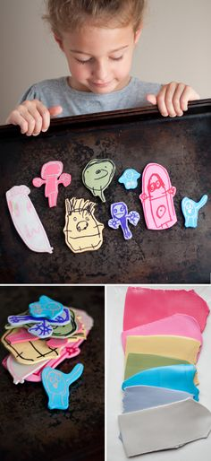 Image Transfer Magnets -Transfer images of kids drawing to polymer clay and attach magnets! | this heart of mine