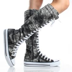 Gray Lace Up Knee High Boots Canvas Sneakers Flat Womens Skate Shoes $14.99