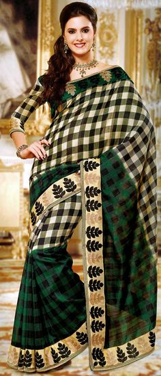 Beige, #Green and #Black Art #Tussar #Silk #Saree with Blouse @ $63.45