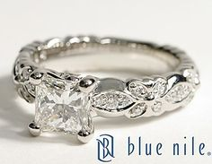 Flora Vida Princess Cut Diamond Engagement Ring in Platinum #BlueNile