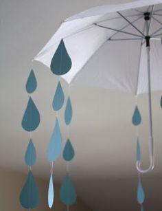 Raindrops and umbrella decoration