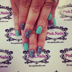 Teal Polka Dot Nails