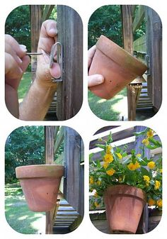 How to Hang Clay/Terracotta Pots. TIP: Create a feature & maximize vertical space by hanging one pot above the other. When you water, any excess moisture will filter down to the pot below. Hide an ugly fence or wall with a series of hanging pots filled with colour or herbs. More inspiring ideas @ http://www.hometalk.com/b/179175/garden-inspiration. | The Micro Gardener