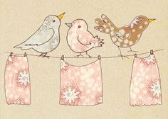 Fabric and birds Illustration | Goodwerks Creative bird illustr