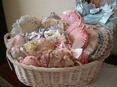 I love my heart-shaped crocheted pincushions!