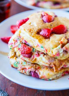 Strawberry and Sprinkles Buttermilk Pancakes