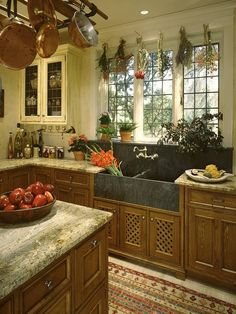 French Country kitchen, Drying herbs, paned glass cabinets, stone farmhouse sink...