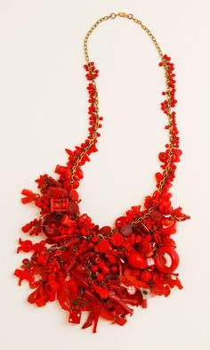 Robin Ayres – Little Red – Hundreds of vintage beads, Cracker Jack and Eppy charms, game pieces, fuses, gaskets, and much, much more