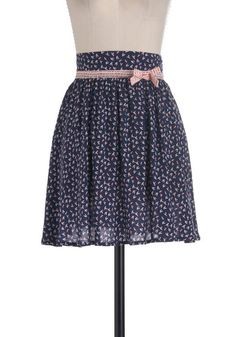 Flight as Can Be Skirt - Mid-length, Red, White, Print with Animals, A-line, Blue, Bows, Work