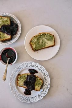 Matcha Marble Pound Cake with Blackberry Brown Sugar Compote