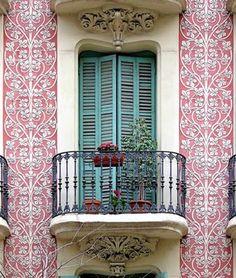 window, colors, balconies, shutter, door, place, barcelona spain, design, blues