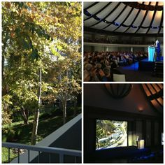 Lucky ticketholders for Moshe Safdie's sold-out lecture at the Skirball queued up in the sunshine with a view of autumn leaves.