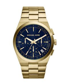 Michael Kors Over-Size Navy & Gold Chronograph Watch. beautiful.