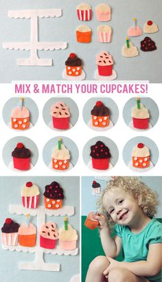 The Busy Budgeting Mama: Cupcake Felt Board.. 6 cupcakes with 6 frostings to mix and match!