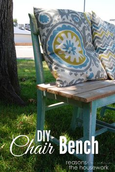 Two rundown chairs and a few planks of wood = CHAIR BENCH #DIY http://www.reasonstoskipthehousework.com/make-chair-bench/