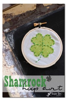 how to make this cute Shamrock Hoop Art ~ Sugar Bee Crafts