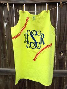 Hey, I found this really awesome Etsy listing at https://www.etsy.com/listing/181172355/softball-baseball-tank-with-initials