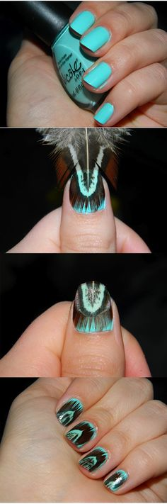 Feather Manicure omg so cute!  apply base like the teal color apply feather trim it all off then put a heavy heavy layer of top coat to seal the feather in