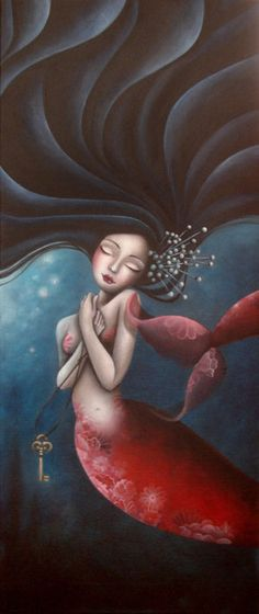 I love that this mermaid has dark hair. They usually have blonde or red hair in pics.