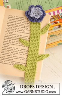"Crochet DROPS book mark in ""Safran"" with flower at the top. ~ DROPS Design"