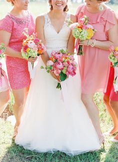 pink bridesmaid dresses, photo by Cassidy Carson http://ruffledblog.com/louisiana-backyard-wedding #weddingideas #bridesmaidsdresses