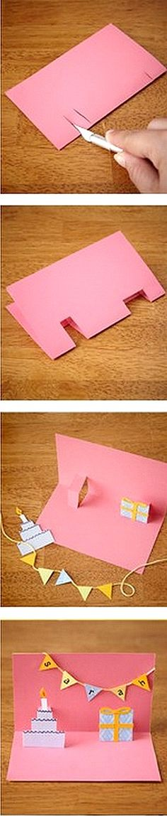 DIY Pop-up card for birthdays, christmas or whatever reason you have for sending a special card for your loved ones :) @Joanna Szewczyk Gierak Finley