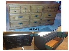 Refurbished Dresser  Painted dresser w/turquoise paint, then went over it w/Rust-Oleum Black (oil based - like tar....sticks to everything), then ruffed up the edges.  Painted drawer sides turquoise as well for a splash of color.