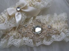 Wedding garter Chantilly beaded lace with by GartersByTania, $50.00