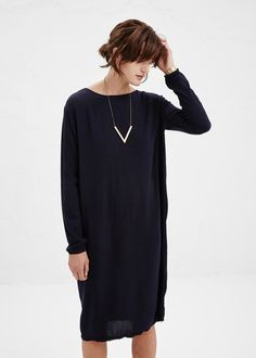 Black Crane Plain Dress in Eggplant | Totokaelo