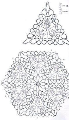 Crochet triangle motif diagram.