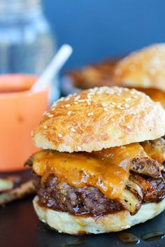 Cheesy French Fry Bourbon Burgers