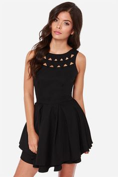 """Dangerously sexy will definitely be your M.O. with the tantalizing Flirting with Danger Cutout Black Dress! Two layers of triangular cutouts are a stunning addition as they traverse the decolletage of a sleeveless bodice, while a sultry V dips ultra low in back. A woven skater skirt blooms out from box pleats just below a fitted waist, with an extra layer of ruffly fabric at the hem. Exposed gold zipper shines at back. Lined. Model is 5'7"""" and is wearing a size small. 100% Polyester. Hand Wash Cold. Imported."""