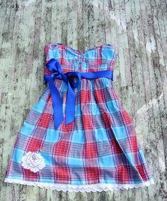 Cowgirl Chic Plaid ribbon dress Farm girl by TrueRebelClothing, $56.00
