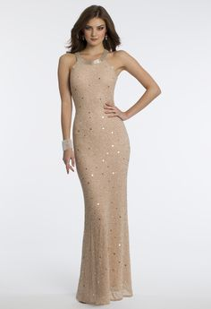 Camille La Vie Beaded Prom Dress with Illusion Back Detail