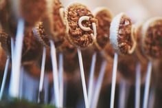Garden Wedding monogrammed pecan pie pops