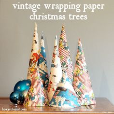 DIY cone Christmas trees from vintage wrapping paper