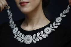 Belle Epoque diamond and emerald necklace at an auction preview at Christie's in London.