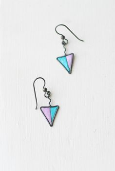 Lavender and Blue Triangle Geometric Earrings, Artisan Minimalist Dangle Jewelry... $35.00
