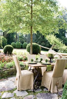 Charming #Outdoor Area- get the look with these #leeindustries #slipcovered dining chairs: http://www.restylesource.com/product/Dining-Chair/1777/