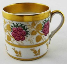 Vista Alegre Portuguese Cup Gilt and Flora Motif - c. 1940's, Portugal
