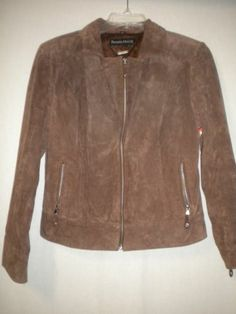 Pamela McCoy Womens Size Large Suede Brown Zipper Leather Jacket | eBay