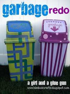 spray painted garbage cans