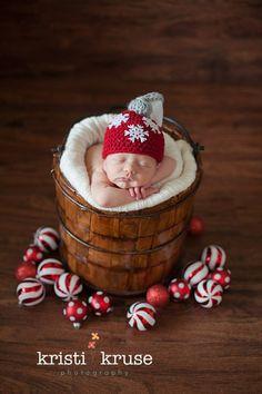 Newborn Baby Ornament Holiday Christmas Hat Crochet Photo Prop on Etsy, $20.00