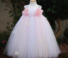 Light Pink with White Bling Straps Flower Girls Tutu Dress