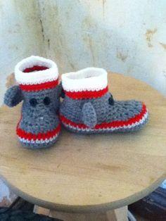 Crocheted Sock Monkey Slippers for toddlers