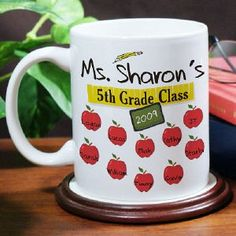 Personalize your Teacher Coffee Mug with any teacher's name, any class, any year and up to 30 students names.